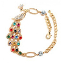 SL044 Latest Fashion Peacock Love In The Wrist Elegant Romantic Valentine Colorful Peacock Bracelet Jewelry Factory Direct