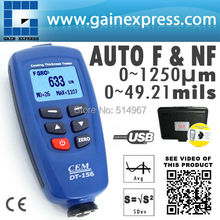 Digital DT-156 Paint Coating Thickness Gauge Meter Tester 0~1250um with Built-in Auto F & NF Probe + USB Cable + CD software(Hong Kong)