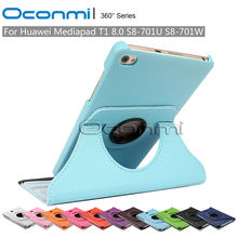 360 Rotating PU Leather case for Huawei MediaPad T1 8.0 inch S8-701U S8-701W protective sleeves tablet case cover