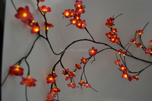 LED Adaptor Type Blossom Plum Willow Twig Garland 6Ft Bendable Branch Light 60 PCs LED Warm White with Blossom Flower Decoration