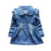 Lovely Baby Kid Girls Vintga Denim Ruffled Long Sleeve Skirt Dots Princess Coat Wrap Coat