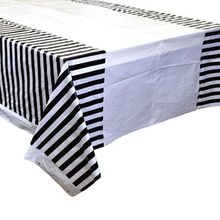 108*180cm Black Stripes Disposable Table Cloth for Birthday Party Plastic Tablecover Wedding Decorations