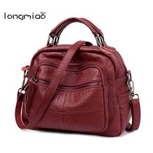 longmiao Women Casual Shoulder Bag High Quality Soft PU Leather Handbag Vintage Stitching Crossbody Bag Ladies Hobos Bag Tote(China)