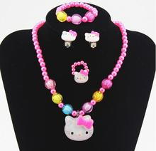 1set Baby Girls Imitation Pearls princess Beads hello Kitty Cat Cute Necklace Bracelets Kids Children Jewelry Party Xmas gift