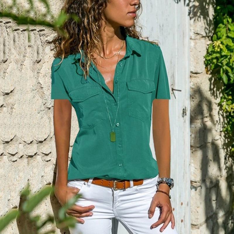 Office Summer Blouse Women Plus Size Elegant Blusas Mujer 2019 Womens Tops and Blouses Shirt Top Femme Women Blouse Short Sleeve12