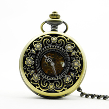 20pcs/lot DHL Luxury Hollow Flower Case Design Golden Hand-Wind Mechanical Skeleton Roman Number Pocket Watch(China)