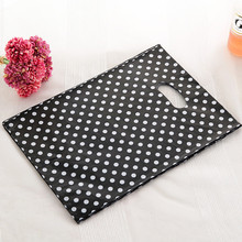 Wholesale 50pcs/lot White Round Dots Black Plastic Bag 25x35cm Shopping Jewelry Packing Bag Cute Plastic Gift Bag With Handle(China)