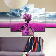 JERMYN 5 pieces canvas art  Purple Tree Oil Painting Artwork Lavender Sea 5 Pcs Canvas Wall Art Sets Modern Abstract Picture