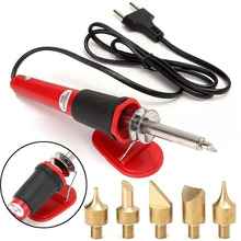 7pcs Wood Burning Pen Soldering Iron Tool Set + Bracket with 5pcs Tips 220-240V 30W For Power Tools