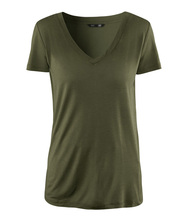 Military style ably simple models army green short-sleeved V -neck T-shirt Slim female summer women fashion new