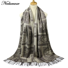 Neelamvar Jacquard scarves Wraps for Women Cashew plaid Long Shawls Cotton Fringes Pashmina 2017 Brand Winter Scarf(China)