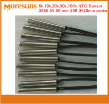 Fast Free Ship 100pcs/lot NTC thermistor temperature sensor 5k,10k,20k,50k,100k 3950 5% 60mm 28# 3*20 NTC Sensor Custom Sensor