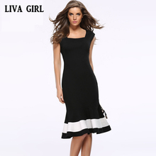 LIVA GIRL Women Clothes Sexy Dreses Sleeveless Zippers Twilight Fashion Elegant Fishtall Dress Work Business Casual Party