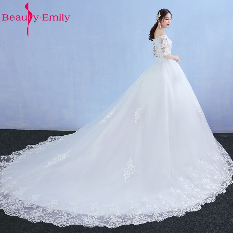 Beauty Emily Luxury Lace A-Line White Wedding Dresses 2017 Half Sleeve V-Neck Lace Court Train Tulle Bridal Gowns