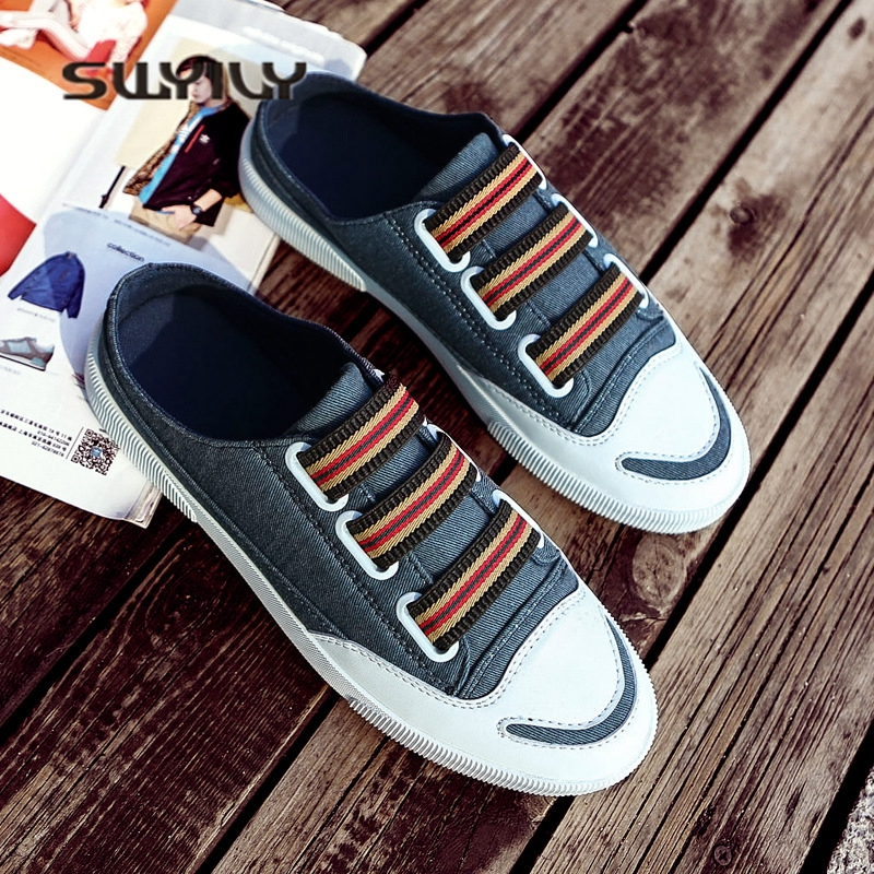 SWYIVY Men Half Slippers Canvas Shoes 2018 Summer Male Casual Shoes Breathable Smile Toe 44 Size Flat Male Sneakers Half Slipper