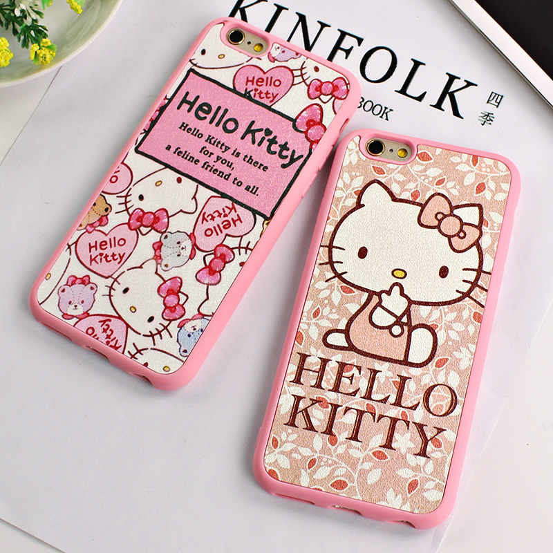 Lovely Cartoon Phone Case For Iphone 6 6s Pink Hello Kitty Hard Tpu Phone Cover For Phone6 6s 4.7inch 5 5s 6plus Free Shipping(China)