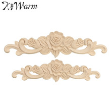 KiWarm 1PC Rose Floral Wood Carved Decal Corner Applique Decorate Frame Wall Doors Furniture Decorative Wooden Figurines Crfts