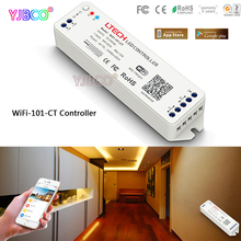WiFi Color temperature LED Controller WiFi-101-CT iphone APP IOS/Android DC12-24V input;6A*2CH output for double white led strip(China)