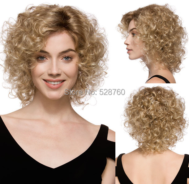 Blonde mix Heat-resistant Fiber  Short Curly Wig  Free shipping<br><br>Aliexpress