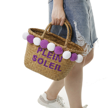 beach bag straw totes bag bucket summer bags with pom pom women basket handbag 2017 new arrivals spring and summer high quality