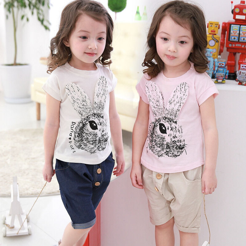 2015 summer new girls short sleeve cartoon rabbit T shirt suit cotton casual pants suit calf-length pant baby kids clothes<br><br>Aliexpress
