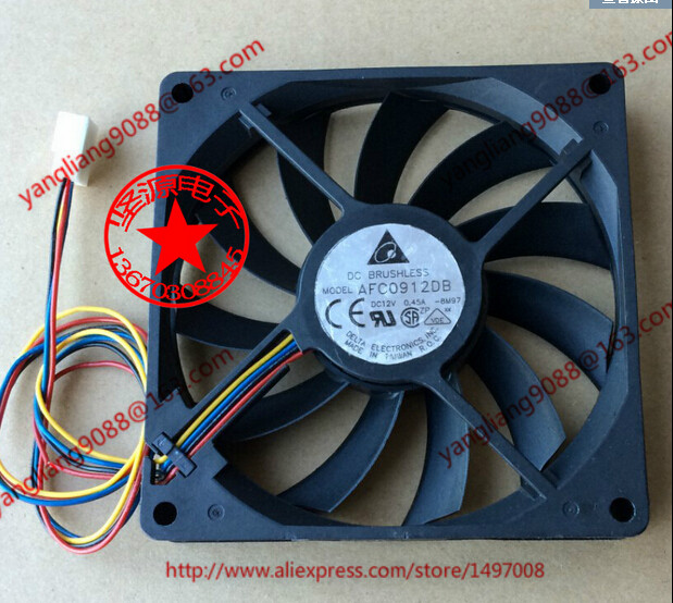 Free Shipping For DELTA AFC0912DB, -BM97 DC 12V 0.45A, 90x90x15mm 50mm, 4-wire 4-pin connector Server Square Cooling Fan<br>