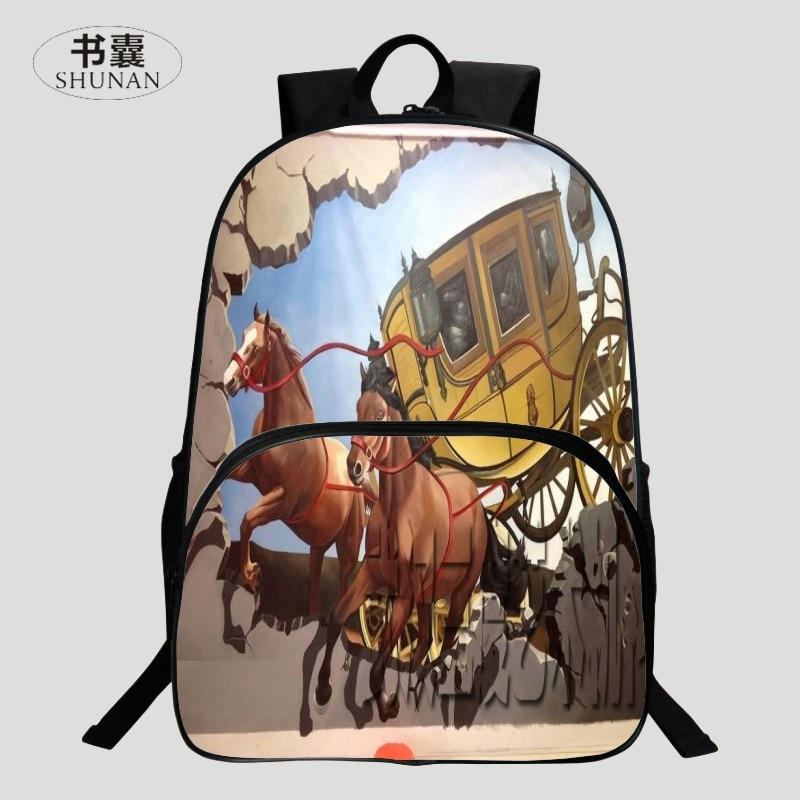 HENGFEI Brand 2016 New Oxford 16-Inch Prints Horse Black Kids Baby Shoulder Bags Womens Backpacks for Children School Bags Girls<br><br>Aliexpress