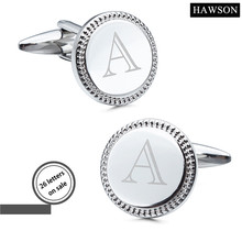 HAWSON Jewelry Silver Color Laser Alphabet Cufflinks 26 Letters Mens Custom Cuff links Round Shape Button(China)