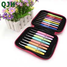 QJH 2 Category Multi-colour 16PCS Plastic Handle And Alumina Crochet Hooks Needle Yarn Knitting Craft Case Set Kit