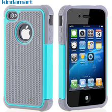 For iPhone 4S Case Hybrid Hard Cover Case For iPhone 4S 4 4G iPhone4 Case Armor Defender Drop Shockproof Silicone Coque Fundas(China)