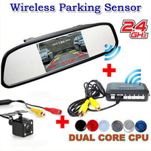 Auto Parking system Car wireless Alarm Sound Sensors system Kit(5 Mirror Monitor + Rearview Camera + Sensor +Wireless adapter)
