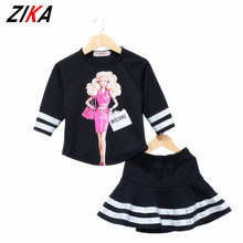 ZIKA Spring 2pcs/set European Girl Sweatshirtblouse+Skirt Clothing Sets Children Trendy Ladies Clothes Baby Kids Casual Outfits