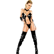 Buy Sexy Wetlook Vinyl Leather Teddy Lingerie 2017 Fashion Black Red Latex Backless Exotic One Piece Night Wear Free Shipping