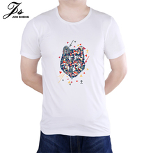 Color Stitching Cartoon Wolf Brand Men's T-shirts Palace Tee Cotton Short Sleeve Swag Summer TShirts Tops Tees Casual  Tops Tee