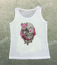 Track Ship+Vintage Fashion Retro Cool Vest Tanks Tank Top Grey Skeleton Skull Smile Pink Rose Flower Leaf 1265(Hong Kong)