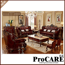 High Quality Furniture Living Room Luxury modern european style three seat leather sofa set(China)