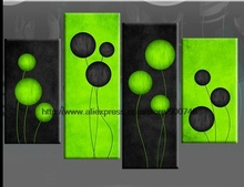 Large Lime Green Black Abstract Circles Canvas Pictures Oil Painting Hand Painted Wall Art Wall Paintings Bathroom Backgr