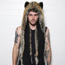 Buy 2018 Women/Men Winter Faux Fur Hood Animal Hat Ear Flaps Hand Pockets 3in1 Hood Hat Wolf Plush Warm Animal Cap Scarf Gloves for $12.44 in AliExpress store