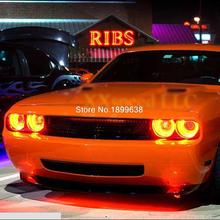 for Dodge Challenger 2008-2014 RED LED Headlight Halo Angel Demon Eyes Kit angel eyes