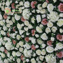 sweet new home Artificial silk flower wall ivory David Austin rose pink peony wedding background road lead market decoration(China)