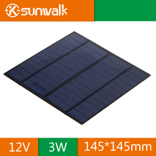 SUNWALK Solar Panel 12V 3W EVA-PET Solar Panel Mini Solar Cell Polycrystalline Silicon Solar DIY Module 145*145mm
