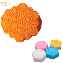 Delidge 1 pc 19 Holes Honeycomb Chocolate Molds Silicone Cute Bee Shape Pudding Jelly Dessert Molds Handmade Soap Mould
