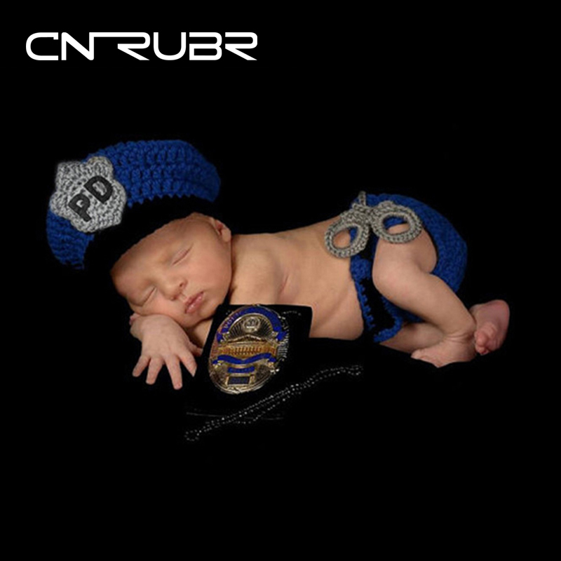 CN-RUBR Blue Knitted Baby Hat Police Outfit Handmade Newborn Photography Props Accessories 1 Year Birthday Photo Gift Kids Caps(China)