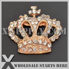 DHL Free Shipping Crown Metal Gold Rhinestone Embellishments Button with Brooch Backing for Wedding Invitation,Bows