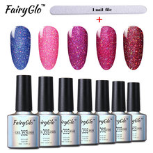 FairyGlo 12pcs/lot Bling Gel Nail Polish+1 pcs Buffer File UV LED Neon Gel Set Vernis Semi Permanent Gel Lak Kit Nail Art Set