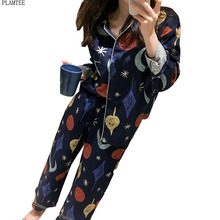 2 Colors Printed pyjamas women Sexy Long Sleeve Turn-Down Collar Pajama Sets Femme casual Pajamas Tops And Pants s~xl sleepwear