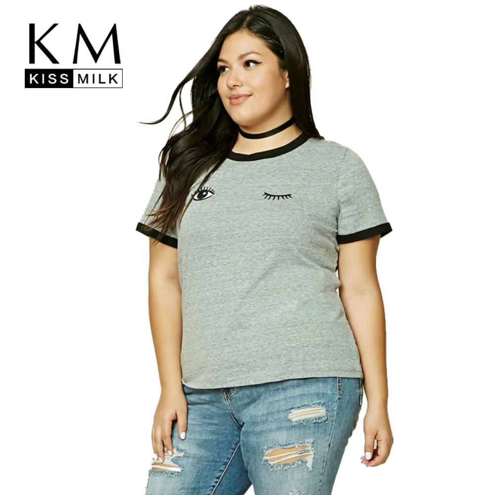 Kissmilk 2018 Big Size New Fashion Women Clothing Casual Solid Print Basic T-shirt Loose O-Neck Plus Size T-shirt 4XL 5XL 6XL