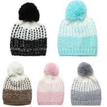 Warm Baby Hat Boys and Girls Autumn Winter Cap Baby Cute Warm Wool Fur Ball Hat Girls Cap Winter Warm Knite Hat For Baby Girl