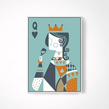 Contemporary Poker Canvas Wall Art playing Card Wall Decor queen and King shadow Box Frame Canvas Artwork (20inch  blue)
