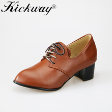 Kickway Plus sizes 34-47 women faux leather lace up flat heel casual shoes women round toe OL working shoes Wholesales drop ship(China)